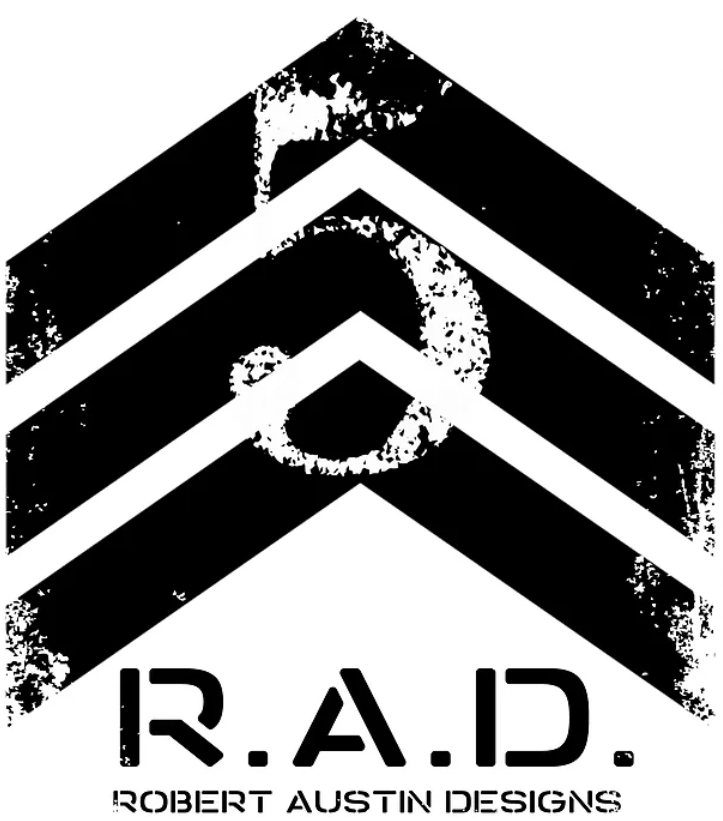 Robert Austin Designs Logo - Three chevrons with the number five over top with the initials R.A.D under the chevrons